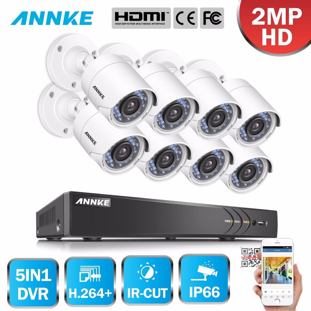 ANNKE 3MP 8CH HD TVI CVI AHD IP 5in1 DVR VCA 8pcs 2MP 1080P HD Smart IR Day Night CCTV Camera Weatherproof Video Security System