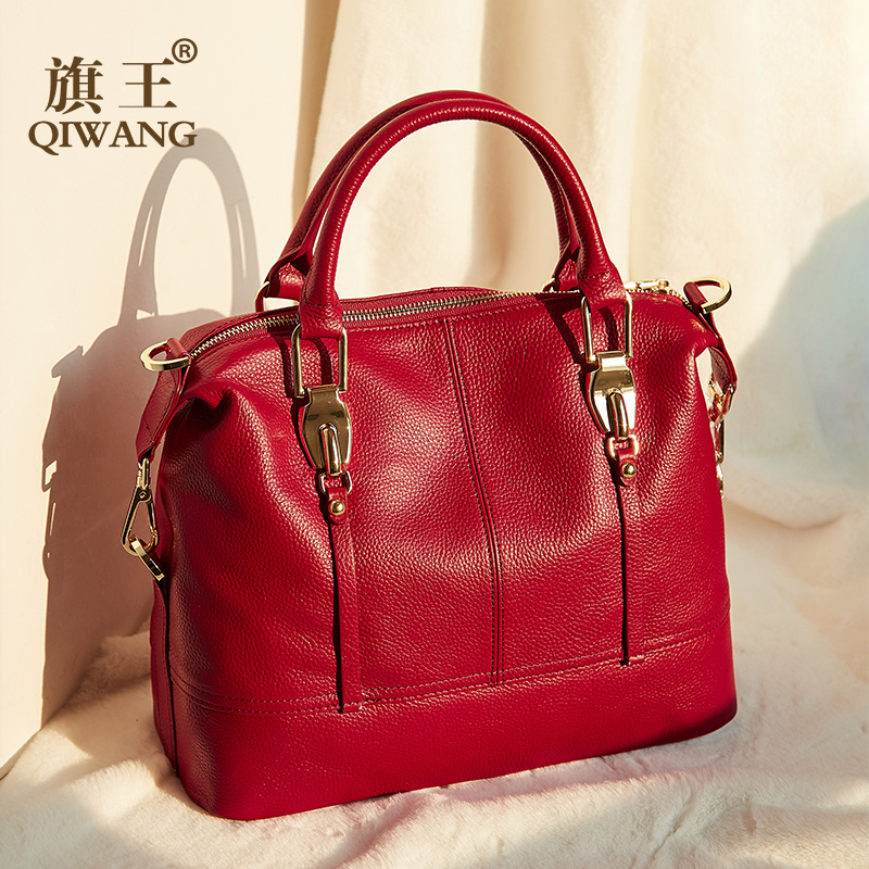 Image 2 - QIWANG Women's Bags Genuine Leather Roomy Bowling Hand bag Full Grain Cowhide Handbags Ladies Fashion Purses for Commuting&Party-in Top-Handle Bags from Luggage & Bags