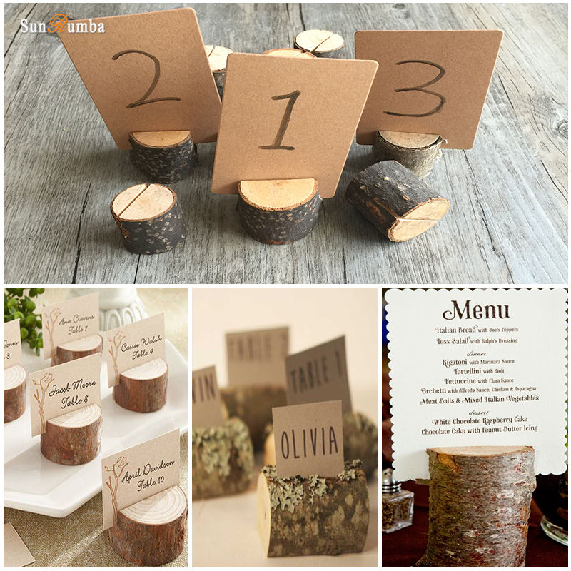 10pcs Wooden Name Place Cards Holders Table Number Holder Rack Wedding Party Direction Signs Supplies Event Party Decoration DIY