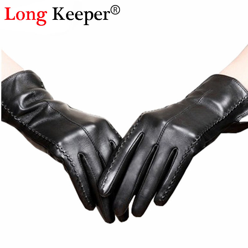 2016 Fashion Ladies Leather Gloves Full Finger Long Gloves Autumn Winter Guante For Women Black Kiss Screen Glove M165