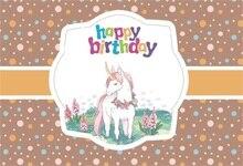 Laeacco Cartoon Happy Birthday Unicorn Dot Decor Baby Photography Backgrounds Customized Photographic Backdrops For Photo Studio