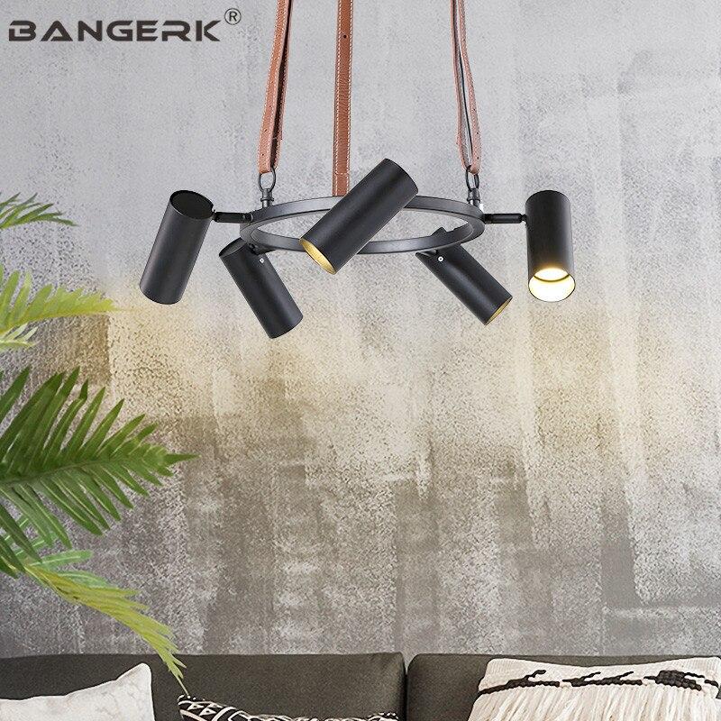 Nordique Conception Rotation Lampes Moderne LED Pendentif Lampe De Fer Loft En Cuir Suspendus Lumières Décoration Luminaire Éclairage Intérieur