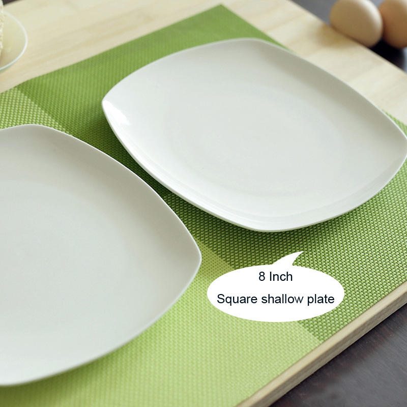 highgrade 8 inch dinner plate dinnerware bone china rice dish square shallow plate private - Square Dinner Plates