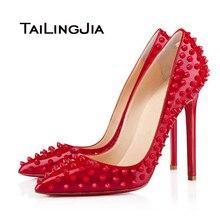 2016 Nouveau Noir Femmes Chaussures Haute Talons Bout Pointu Rivets Sexy partie Pompes Chaussures de Soirée À La Main 6 Couleurs Disponibles NOUS Taille 4-15