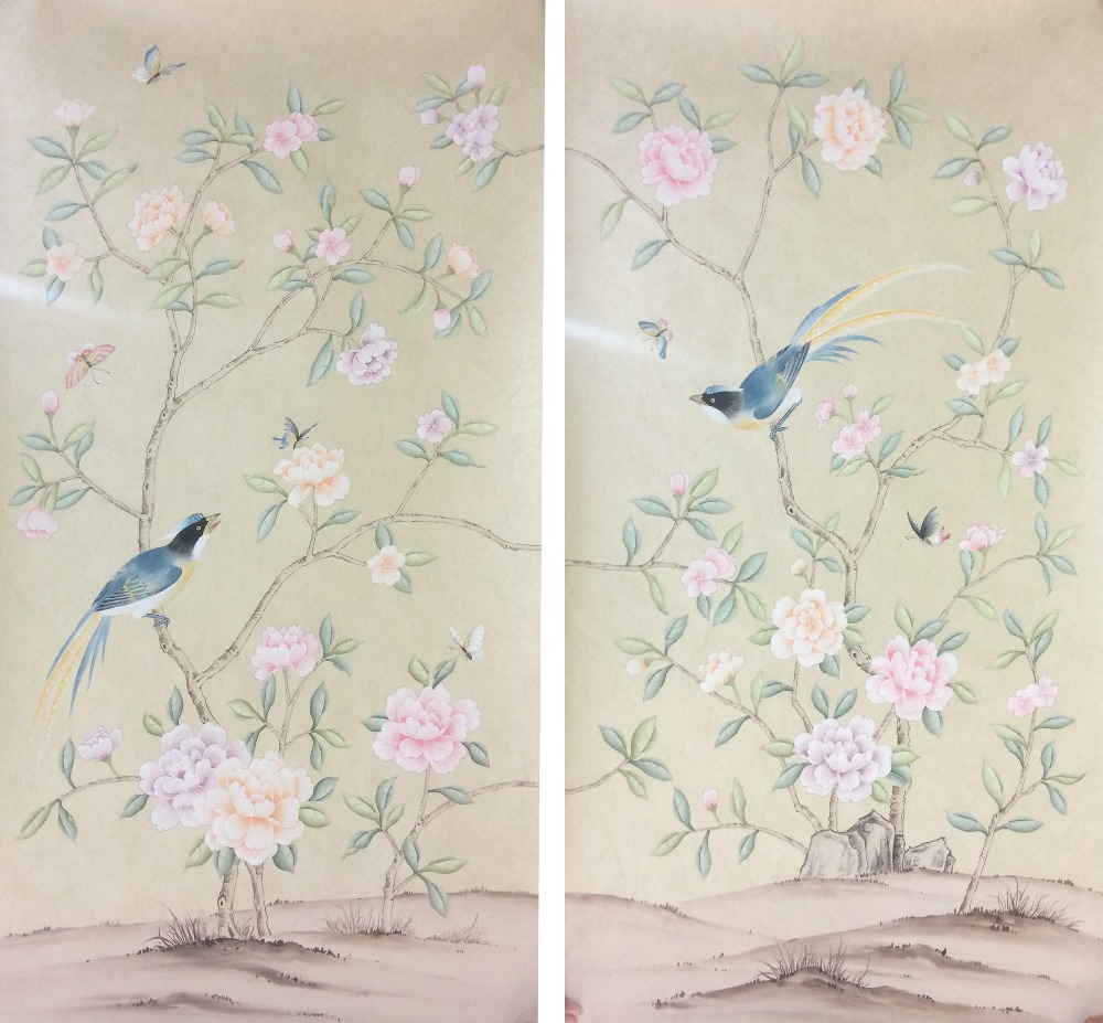 Hand painted Non-Woven silk wallpaper painting peony flower birds Hand-painted wall paper many pictures and backgrounds optional chi clothing clothes hand painted performance clothing blue and white peony stretch silk female artists painted custom