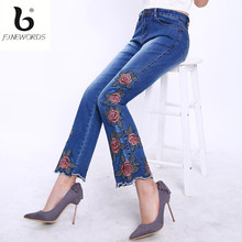 FINEWORDS 2017 High Waist Casual Folk Style Flare Embroidered Denim Jeans Women Stretch Plus Size Bell Bottom Boot Cut Mom Jeans