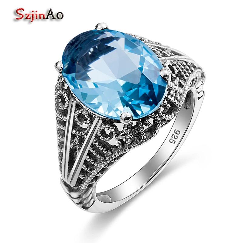 Szjinao Boho Bohemian Gemstone Ring Aquamarine Wedding 925 Sterling Silver Rings for Vintage Bulgaria Jewelry Women Accessories цена