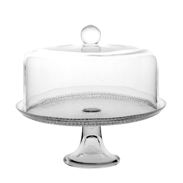 Beads Relief Glass Cake Stand Decorative Glass Cover Compote Dessert