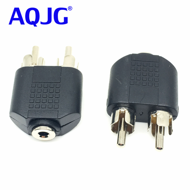 Useful Shielded 3.5mm 1/8 3.5mm Stereo Female Jack To 2 RCA Male Plug Adapter Headphone Y Audio Adapter Female To Male Audio adapter sma plug male to 2 sma jack female t type rf connector triple 1m2f brass gold plating vc657 p0 5