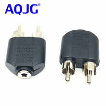 Useful Shielded 3.5mm 1/8 3.5mm Stereo Female Jack To 2 RCA Male Plug Adapter Headphone Y Audio Adapter Female To Male Audio