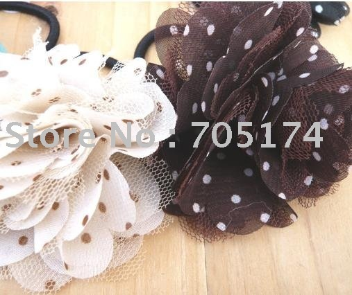 Chiffon + Lace Wedding bridal flower/ Corsage/dot Head flower/Hair accessory Flower hair Rope