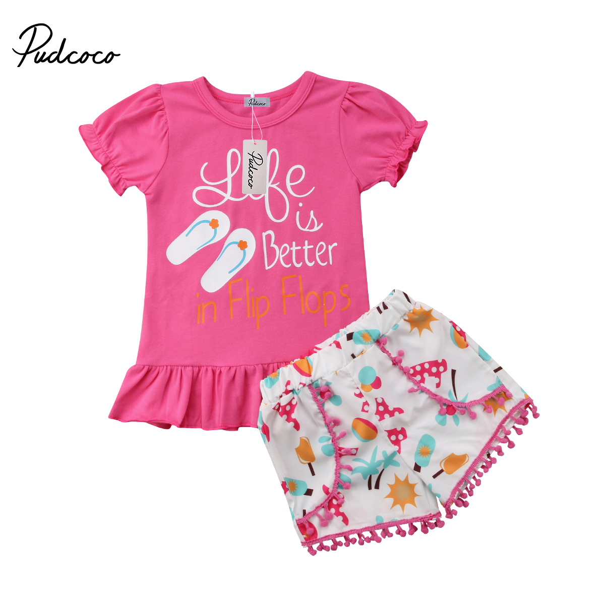 2018 Brand New 2PCS Toddler Infant Kid Baby Girls Summer T-shirt Tops+Pants Tassel Shorts Outfit Clothes Slipper Summer Set 1-6T цена