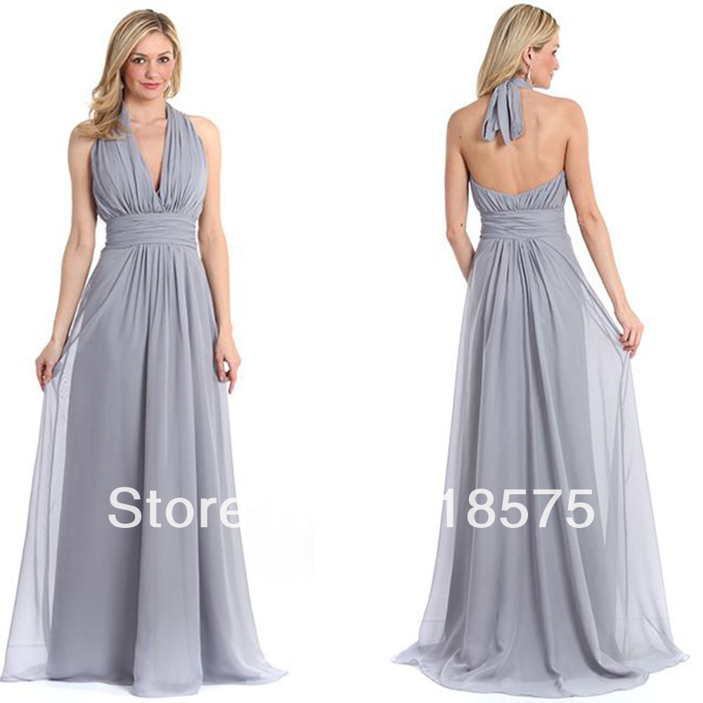 Modern Halter Deep V Neck D Waist Grey Long Bridesmaid Dresses In From Weddings Events On Aliexpress Alibaba Group