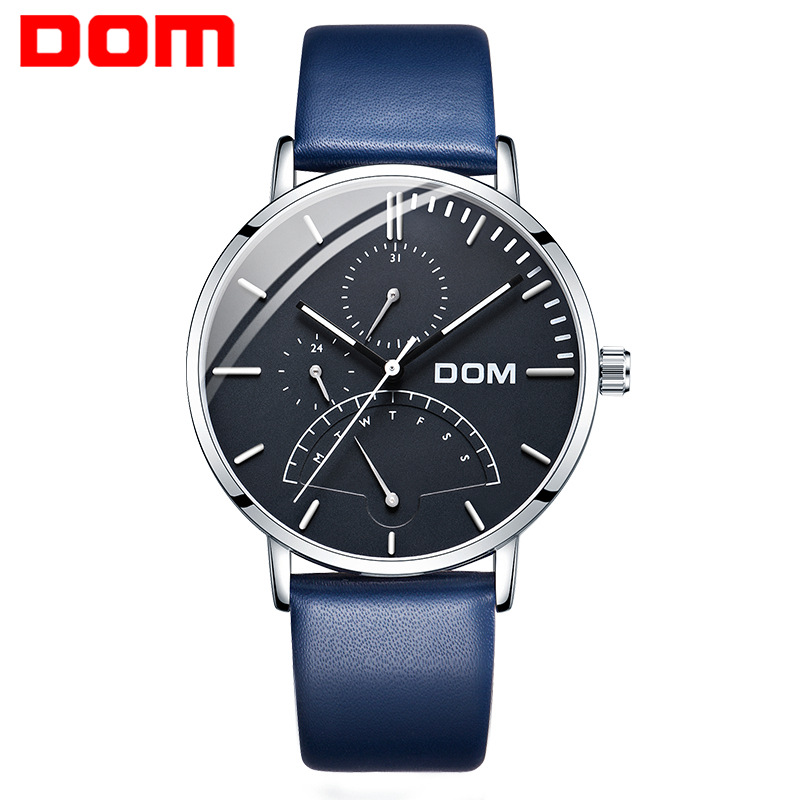 DOM luxury brand wristwatches waterproof mens watches quartz genuine leather business man clocks calendar Switzerland watch luxury mens gold diamond stainless steel watches quartz calendar 30m waterproof man clocks luminous top brand original watch