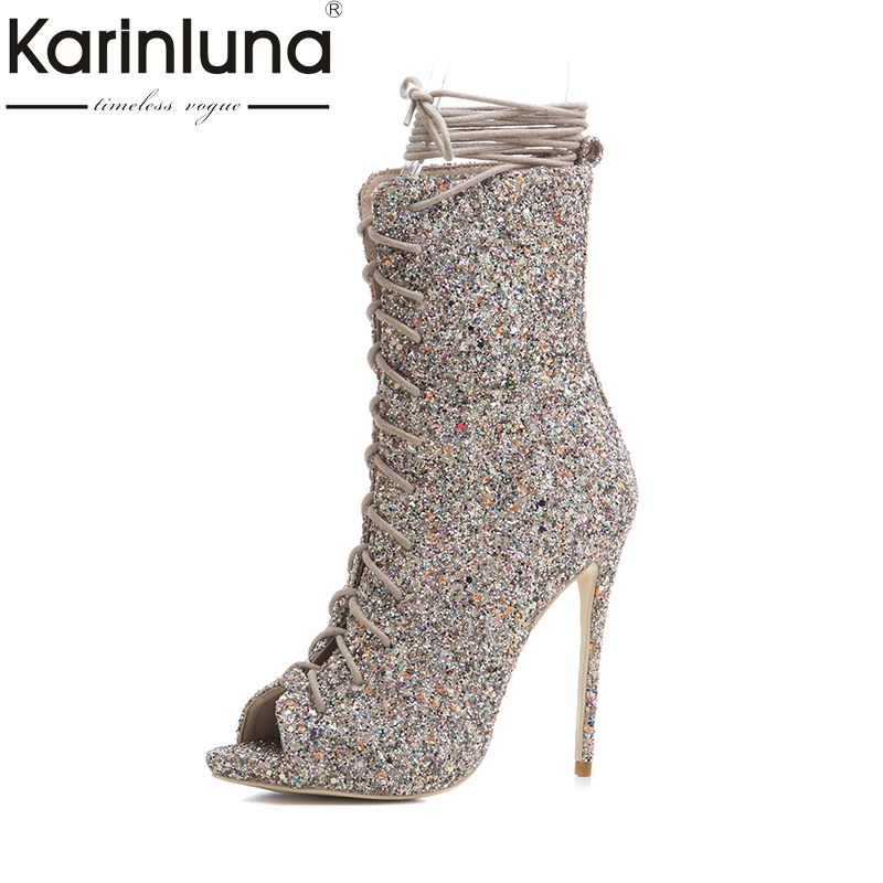 Karinluna New Big Size 33-43 Customized Brand Shoes Summer Boots Lace Up Thin High Heels Top Quality Party Shoes Women цена