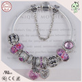 Luxurious European Popular Pink Silver Different Design Charms DIY 925  Authentic Silver Charm Bracelet