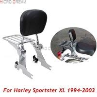 Flat Luggage Rack Motorcycles Adjustable Detachable Backrest Sissy Bar For Harley Davidson Sportsters XL 883 1200 1994 2003
