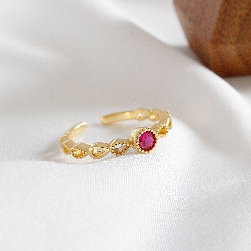 ᐂS925 oro color de la boda zirconia rojo chicas anillo de plata - a633