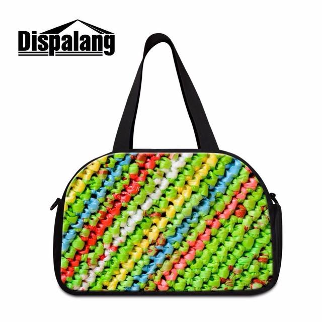Bolsa de viagem com saco de sapato separado dispalang workout duffle saco da bagagem personalizado clássico da moda meninas bolsa saco de fim de semana