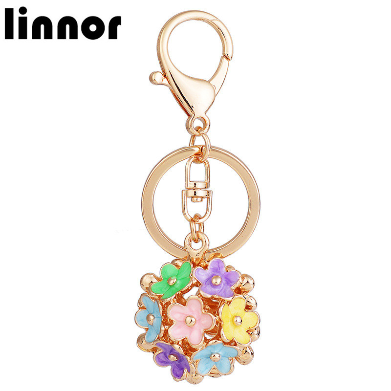 Linnor Beauty Enamel Porcelain Flower Petal Keyrings keychains for Girl Hand Bag Purse Pendant Key Chain Ring Holder llavero