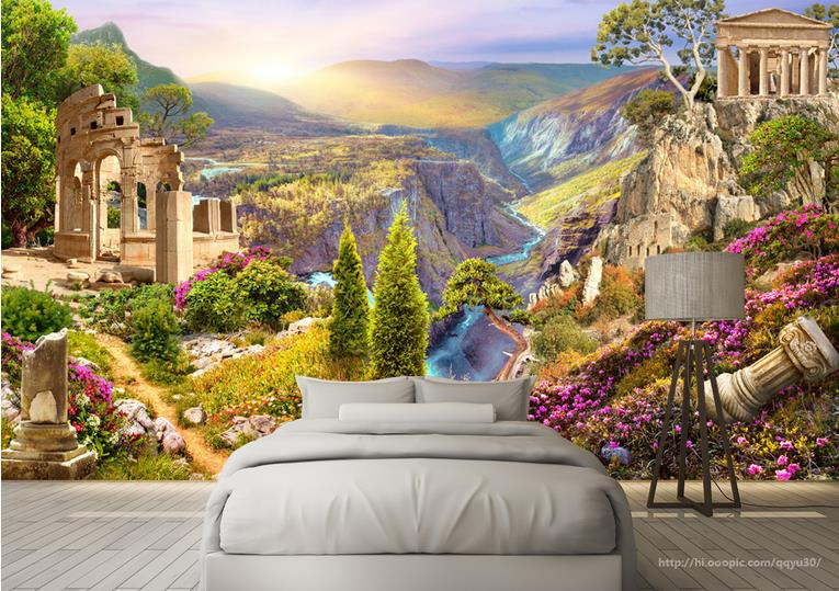 Customized Large Mural Photo Wallpaper Valley scenery 3d Stereoscopic Wall paper The Living Room TV Backdrop Bedroom 3d mural wallpaper 3d stereoscopic living room tv backdrop bedroom 3d photo wallpaper european style custom