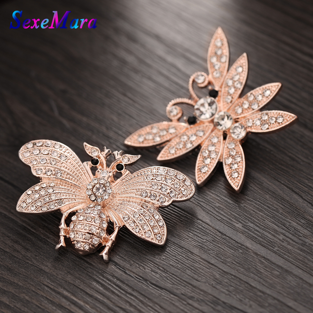 1PCS New Snap Jewelry Rose Gold Bee Butterfly 18mm Snap Buttons with Rhinestone Animal Charm Fit Silver Snap Bracelets Bangles
