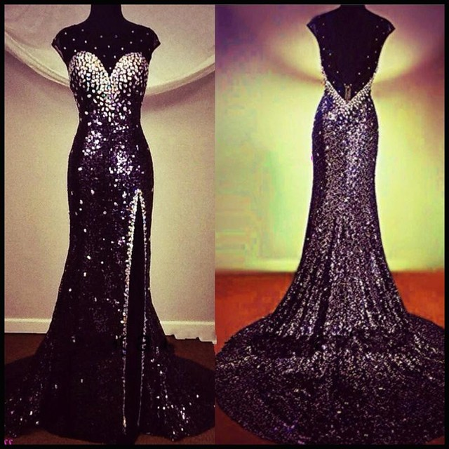 104e30ee9c Real Photos Stunning Sequined Evening Dress Mermaid 2017 Cap Sleeve Backless  Rhinestone Prom Dresses Custom Imported Party Gown
