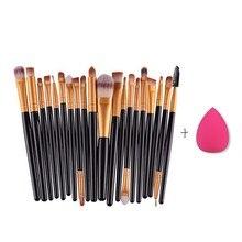 20pcs Eye Makeup Brushes Set Eyebrow Lip Eyeliner Brush Cosmetic Tool And Foundation Smooth Sponge