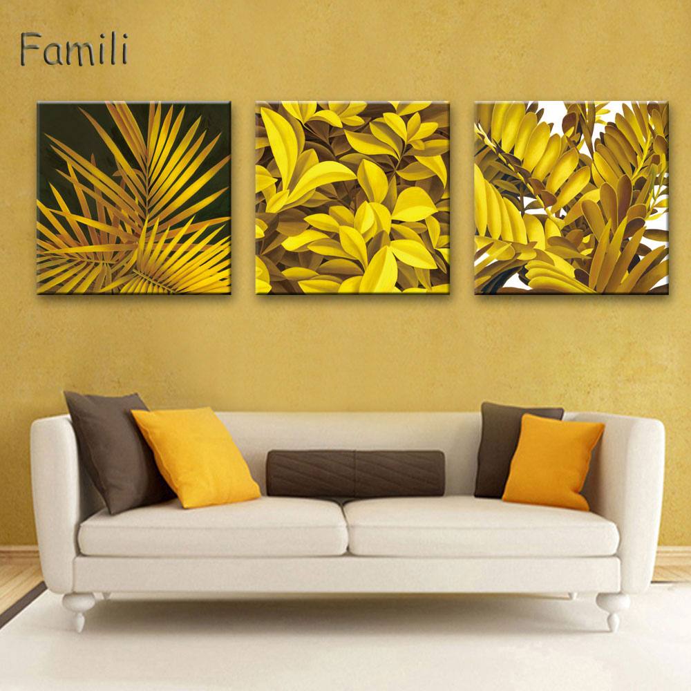 3pcs Golden leaves Nordic Poster Wall Art Canvas Painting Posters ...