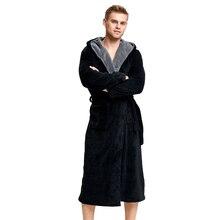 Tony&Candice Bathrobe Men Thick Fleece Winter Male Dressing Gown Towel Sleepwear Solid Nightgown Kimono For Long Flannel Pyjamas недорого