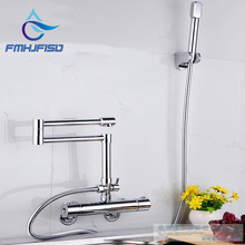 Thermostatic Wall Mounted Bathroom Tub Faucet Extent Spout W/ Hand Shower Mixer Chrome Finish