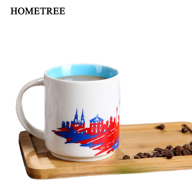 Hometree 420ml Personality Colourful Ceramic Coffee Cups Tea Milk Office Round Handle Mark Water Cup