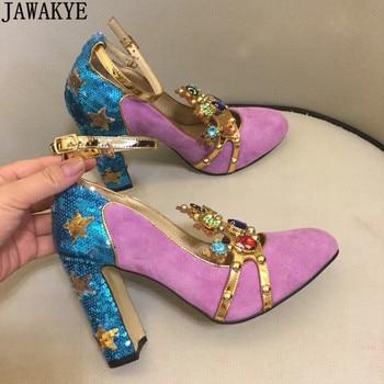 Женские замшевые туфли лодочки с заклепками, украшенные стразами, на высоком каблуке, с украшением в виде короны