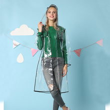 Mehonestly waterproof clear plastic Long mens raincoat poncho hooded transparent fashion women Impermeable rain coat jacket