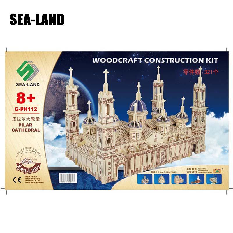 Un jouet pour enfants de Puzzle en bois 3d modèle pour enfants et adultes la basilique Pilar la célèbre série de construction un meilleur cadeau pour les enfants - 4