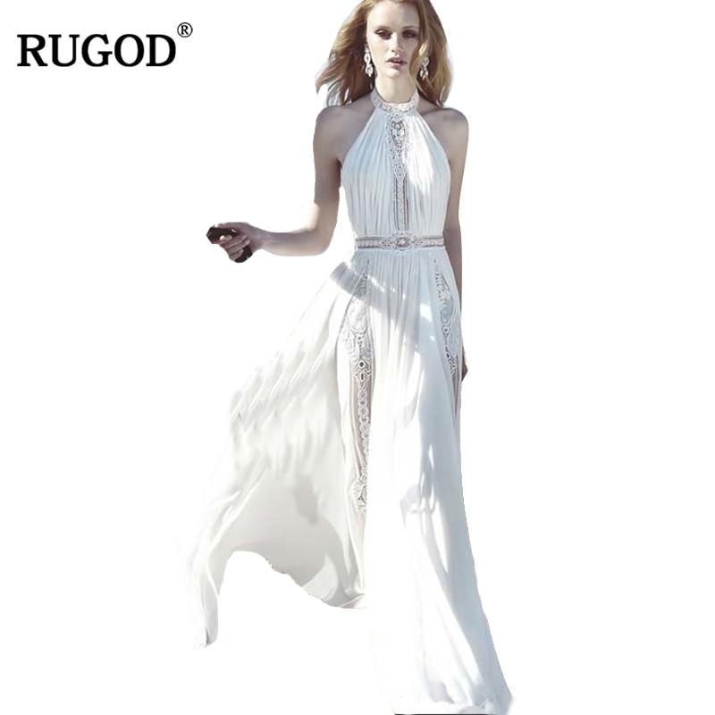 RUGOD New Spring Summer Beach Dress Women White Lace Patchwork Chiffon Dress Women Elegant Halter Tunic