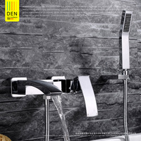 The German copper bathroom wall type waterfall shower shower faucet triple cold hot water mixing valve set