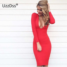 Winter 2018 Warm Fabric White Party Dresses Vestidos Deep V-neck long sleeve dress women Bandage Sexy Club Night Wear Bodycon