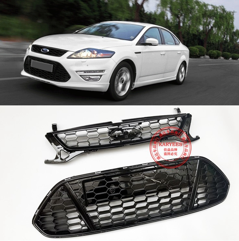 SHCHCG Exterior ABS Plastic Black Front Bumper Racing Center Grille With Badge Mesh 2Pcs For Ford Mondeo MK4 2011 2012 2013