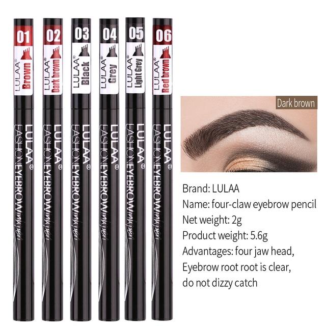 LULAA Four Heads Eyebrow Pen Waterproof Eyebrow Pencil Tattoo Tint Long Lasting Liquid Eye brow Gray Brown Black  Brush Makeup 3