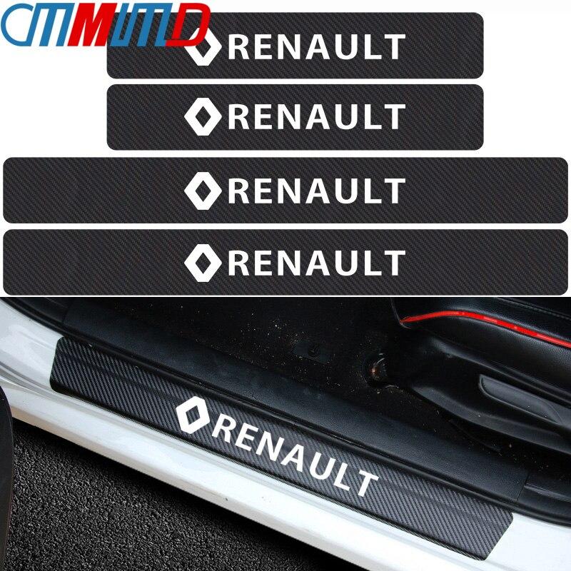 4 pièces autocollant de plaque de seuil de porte de voiture en Fiber de carbone Anti-coup de pied égratignure de Protection Stickes pour Renault duster megane 2 logan renault