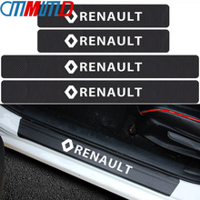 4pcs Car Door Carbon Fiber  Scuff Plate sticker Anti-Kicked Scratch Protection Stickes for Renault duster megane 2 logan renault