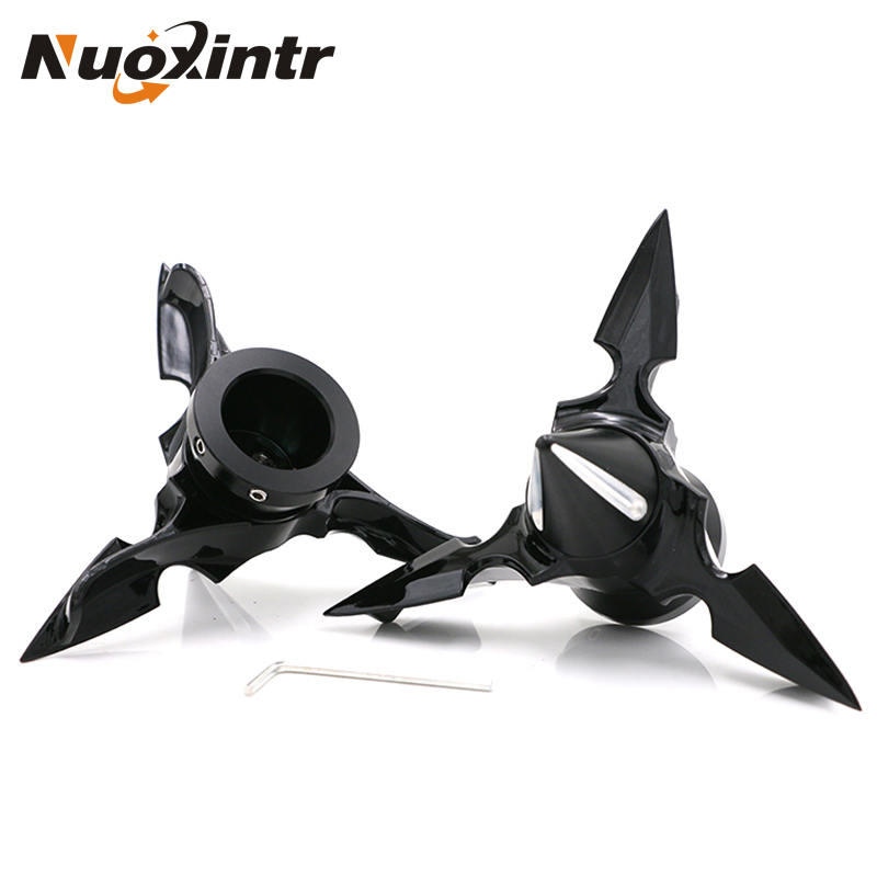 Nuoxintr New Super Cool Motorcycle Front Axle Rotating Blades For Harley Dyna Sportsters Front Axle Protective Cap Nut Cap tc02311010047 tc0231101004 the housing for front axle