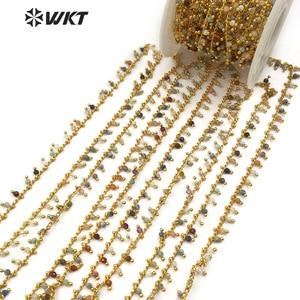 Image 3 - WT RBC094 WKT nowa hurtownia pięć metrów/partia naturalny wielokolorowy kamień mieszane z mosiądzu różaniec łańcuch biżuteria making naszyjnik