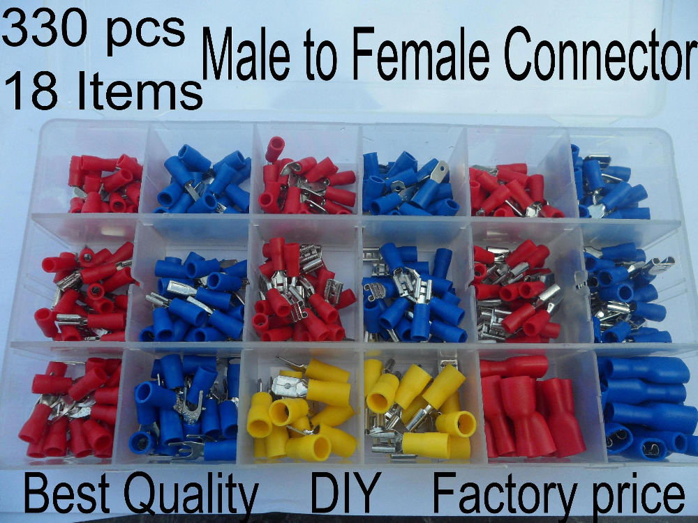330pcs/lot Assorted Full Insulated Terminals Female Male Connectors Assortment Kit Electrical Crimp Spade Ring Fork U-type Set