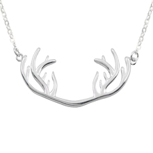 2019 Simple Elk Deer Antlers Necklace Chain Clavicle Choker Statement Pendant For Women Girls Charm Jewelry 2020 new highlight pearl pendant choker necklace for women luxury crystal multi layer clavicle chain statement party jewelry