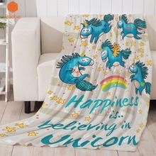 Rainbow Blue Unicorn Thicking Blanket For Bed Super Soft Throw Art Beach Towel Travel Bedspread Cartoon Beds