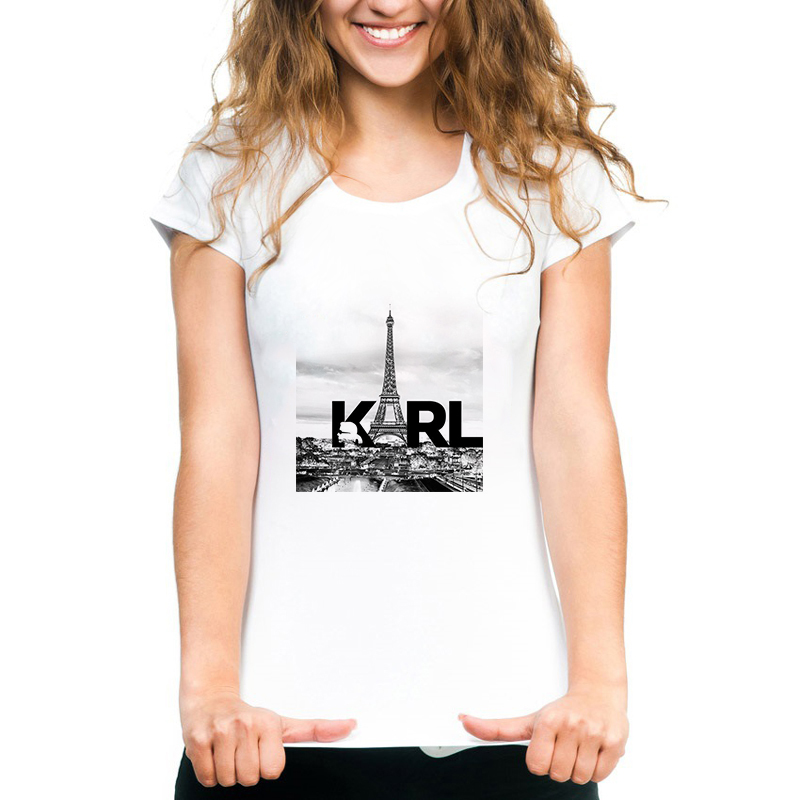 Women Clothes 2019 Korean BTS Tops Karl Lagerfeld T Shirt Women Camisetas Mujer Couple Clothes White Aesthetic Tee Shirt Femme