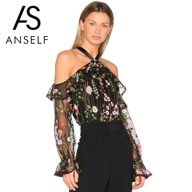 dc0eb07eeec Anself 2019 Summer Off Shoulder Embroidery Blouse Long Sleeve Sheer Shirt  Women Mesh Tops Causal Floral