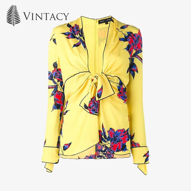 Vintacy Women Blouse V-Neck Yellow Floral Autumn Print Slim Bowknot Pullover Top 2017 Modern Fashion Female Girls Women Blouse